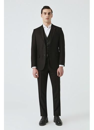 D'S Damat Slim Fit Düz Yelekli Takım Elbise Siyah